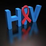 HIV rosso del nastro Fotografia Stock Libera da Diritti