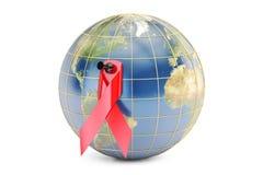 HIV UNTERSTÜTZT Bewusstseins-rotes Band mit Erde, Wiedergabe 3D lizenzfreie abbildung