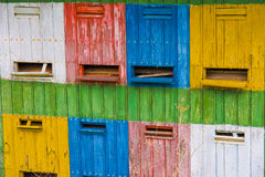 Hive. A close-up of colorful bee hives in the springtime Stock Photos