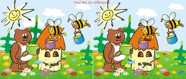 Hive and bear-find 10 differences. Find ten differences in the figures. Bear and Bees Royalty Free Stock Image