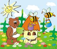 Hive and bear Royalty Free Stock Photography