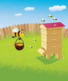 Hive and the bees. Beehive and bees. Apiary on the lawn vector illustration