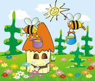 Hive and bees. In the meadow stands a hive, bees flying around. Picture for children royalty free illustration