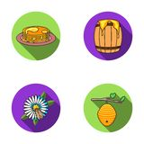 A hive on a branch, a bee on a flower, a honeycomb with honey, a honey cake.Apiary set collection icons in flat style Stock Image