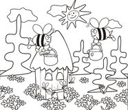 Hive-coloring book. Coloring for Kids - a hive of bees royalty free illustration