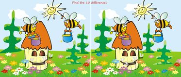 Hive- find 10 differences. Find ten differences in the figures. Bees and Beehive Royalty Free Stock Images