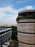 The Hive. The highest floor of The Hive overlooking the School of Humanities and Social Sciences and the western part of Singapore is in the background Stock Photos