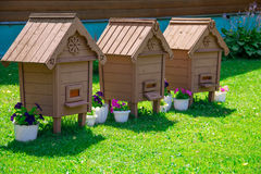 Hive. Three houses for bees on a green lawn Stock Image