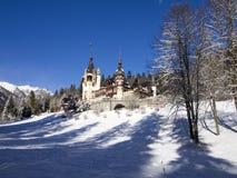 Hiver au château de Peles, Roumanie Image libre de droits