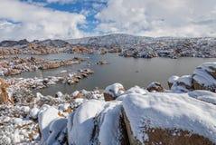Hiver au lac watson Image libre de droits