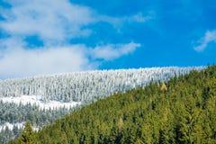 Hiver avec la neige dans les montagnes géantes, République Tchèque Photographie stock