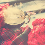 Hiver chaud Autumn Time New Year de vapeur de tasse de thé Photo libre de droits