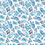 Hiver Crystal Pattern d'aquarelle Photographie stock