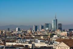 Hiver 2016 d'Alpes de montagne de Milan Business District Landscape View photos stock