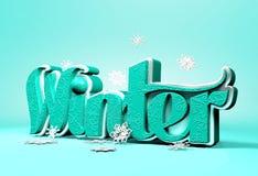 Hiver 3D Word dimensionnel avec des flocons de neige Photos libres de droits