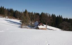 Hiver dans la région Moravian-silésienne de montagnes Images stock