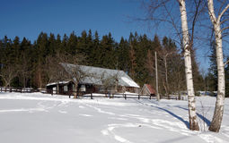 Hiver dans la région Moravian-silésienne de montagnes Photos stock