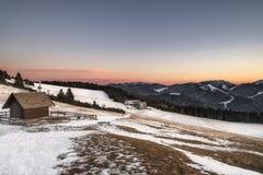 Hiver dans le trentino sur la montagne près du folgaria Image libre de droits