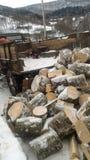 Hiver dans le village de mointain Photo libre de droits