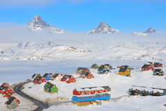 Hiver dans Tasiilaq, Groenland Photo stock