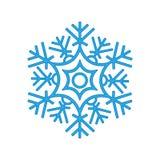 Hiver de flocon de neige d'isolement sur le fond blanc Silhouette bleue d'icône illustration de vecteur pour la conception de Noë Photo libre de droits