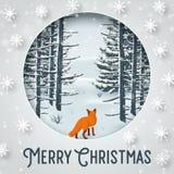 Hiver de Joyeux Noël avec l'animal de Forest Landscape et de renard illustration stock