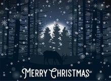 Hiver de Joyeux Noël avec la soirée Forest Landscape et l'animal de cerfs communs illustration stock
