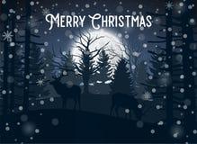 Hiver de Joyeux Noël avec la soirée Forest Landscape et l'animal de cerfs communs illustration de vecteur