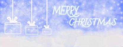 Hiver de Joyeux Noël extérieur avec les flocons de neige en baisse, et coup illustration stock