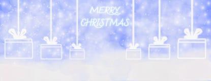 Hiver de Joyeux Noël extérieur avec les flocons de neige en baisse, et coup illustration de vecteur