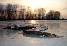 Hiver de l'Astrakan Russie pêchant l'eau douce de Pike Images stock