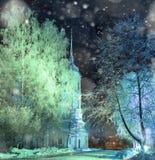 Hiver de neige d'église Photographie stock libre de droits