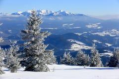 hiver de neige de scène de montagnes de maison le vieil Images libres de droits