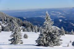 hiver de neige de scène de montagnes de maison le vieil Photos stock