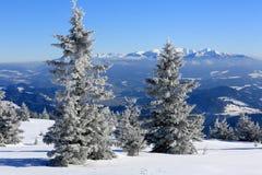 hiver de neige de scène de montagnes de maison le vieil Photo stock