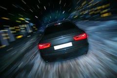 Hiver de nuit de voiture Photographie stock libre de droits