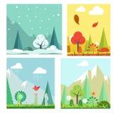 Hiver de paysage de nature de quatre saisons, été, automne, paysage plat de vecteur de ressort illustration de vecteur