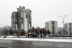 Hiver en capitale de secteur de Seskine de ville de la Lithuanie Vilnius Photographie stock