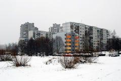 Hiver en capitale de secteur de Seskine de ville de la Lithuanie Vilnius Images stock