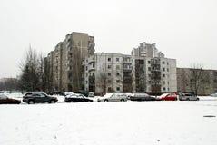 Hiver en capitale de secteur de Seskine de ville de la Lithuanie Vilnius Photo stock