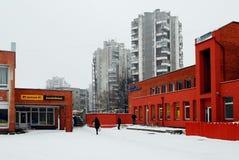 Hiver en capitale de secteur de Seskine de ville de la Lithuanie Vilnius Image libre de droits