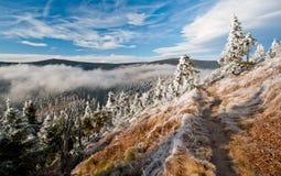 Hiver en montagnes dans la République Tchèque photographie stock