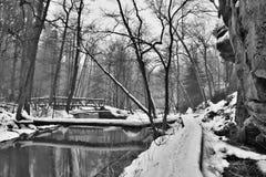 Hiver en vallée de Peklo dans la région de kraj de Machuv en nature tchèque Image stock