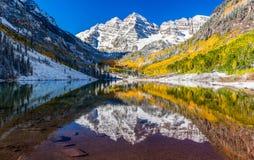 Hiver et feuillage d'automne à Bells marron, Aspen, Co Photographie stock libre de droits