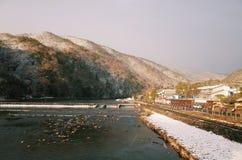 Hiver et neige d'Arashiyama image libre de droits