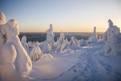 Hiver finlandais de la Laponie Photographie stock