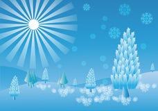 hiver, flocons de neige Fond Photos libres de droits