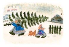 Hiver folklorique russe d'aquarelle Image stock