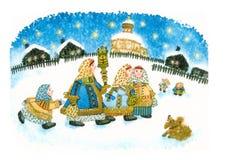 Hiver folklorique russe d'aquarelle Images stock