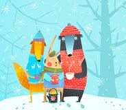 Hiver Forest Animals Illustration Libre de Droits